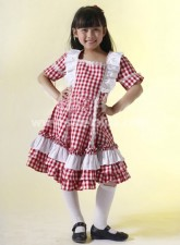 Hot Sale Red Checked Cotton Kids Lolita Dress
