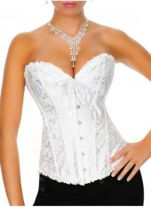 Floral Bow Front Button Jacquard Womens Corset