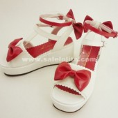 2018 White And Pink Bow Princess High-heeled Sandals.