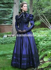 Newest Dark Blue 19th Century Civil War Dress Gothic Casual Victorian Dresses Costumes