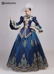 Exclusive Deep Blue Chirstmas Birthday Party Dress Stage Theater Women Vintage Dress Marie Antoinette Gown