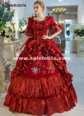 Red Rococo Baroque Marie Antoinette Ball Gown Dress 18th Century Renaissance Historical Period Princess Dress For Women