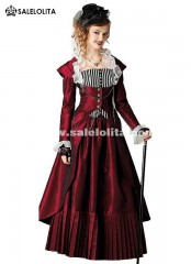 1880s Style Riding Habit Theatrical Clothing Victorian Edwardian Bustle Steampunk Dress Period Gown