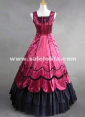 Deep Red And Black Satin Gothic Victorian Gown Spaghetti Strap Victorian Dresses