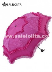 Graceful Rose Red Lolita Wedding Lace Umbrella
