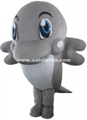 Adult Gray Dolphin Mascot Costume Fish Baby Cartoon Theme Anime Cosplay Costumes