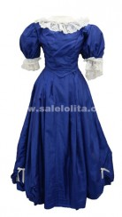Blue Lace Long Gothic Victorian Dress