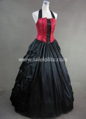 Black and Red Halter Aristocrat Hot Sale Victorian Dress
