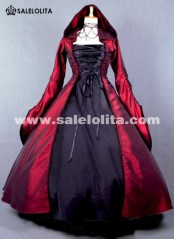 2015 Elegant Wine Red And Black Victorian Medieval Renaissance Dress Costumes For Women