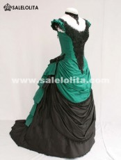 Brand New Noble Green And Black Short Sleeves Victorian Bustle Ball Gown 2018