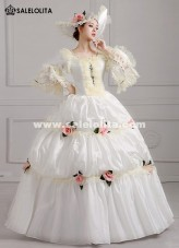 2018 Elegant White Palace Snow Queen Dance Costume Medieval Rococo Marie Antoinette Party Dress