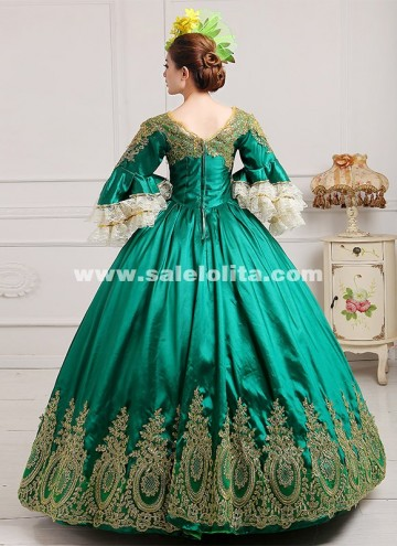 2018 Royal Palace Green Lace Dance Stage Dress Medieval Victorian Marie Antoinette Dress For Party