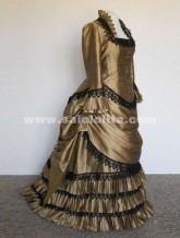 2016 Brand Fashion Champagne Floor-Length Victorian Bustle Ball Gown