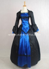 2016 Brand New Elegant Vintage Black And Blue Long Sleeves Printed Civil War Victorian Ball Gown