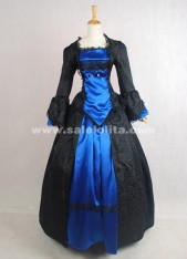 2018 Brand New Elegant Vintage Black And Blue Long Sleeves Printed Civil War Victorian Ball Gown
