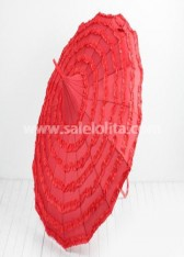 Discounted Pure Red Gothic Lolita Umbrella