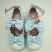 Beautiful sky blue and red bow lace princess lolita shoes