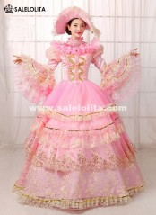 Pink Floral Lace Muliti-Layer Party Dress Southern Belle Ball Gown Marie Antoinette Dress Reenactment Theatre Clothing