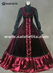 Elegant Wine Red Medieval Victorian Dress Masquerade Ball Gown Dress Rococo and Carnivale Gown