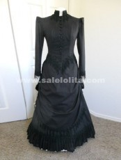 2016 New Arrival Hot Selling Black Sleeves Cotton Floor-Length Victorian Ball Gown