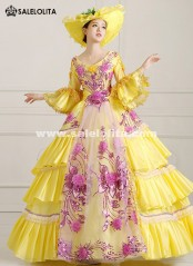 2016 Yellow Print Women Rococo Masquerade Ball Gown Marie Antoinette Prom Dress