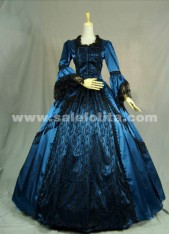 Elegant blue prom dress long-sleeved Victorian Civil War Era Ball Gown