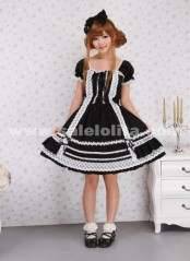 Fashion Square Neck Crossing Ribbown Ties White Lace Hem Short Sleeve Gothic Lolita Dress
