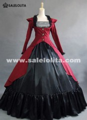 Red Gothic Victorian Steampunk Dress Reenactment Costume Theatre Clothing 2019
