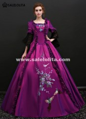 Medieval Marie Antoinette Purple Gowns Princess Vintage Wedding Gowns