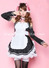 Sweet And Princess Black Patchwork Sleeves Japanese Anime Cosplay Halloween Maid Costume For Women
