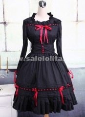 Black and Red Long Sleeves Ruffle Cotton Bow Square Collar Gothic Lolita Dress