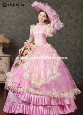 2018 Royal Pink Medival Renaissance Marie Antoinette Ball Gowns Dress