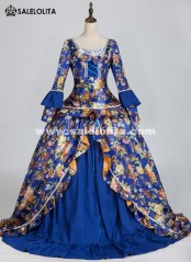 Womens Blue Marie Antoinette Masked Ball Victorian Costume Dress