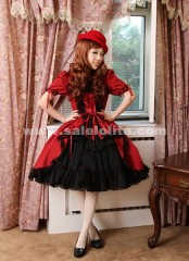 Elegant and stylish short-sleeved red Gothic Lolita dress,Gothic Clothing 2018