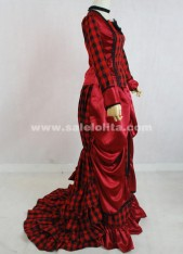 Elegant Medieval Renaissance Red And Black Glaid Long Sleeves Victorian Bustle Ball Gown