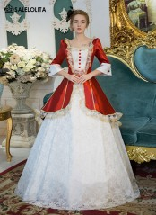 Red And White Lace Marie Antoinette Ball Gowns Women Halloween Party Dress Victorian Prom Dress Vestidos De Festa