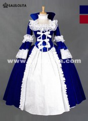 2019 Brand New Blue And Red Vintage Lace Gothic Victorian Dress Halloween Witch Cosplay Party Dress