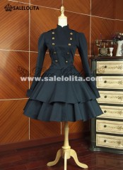 Classic Black Cotton Double Breasted Gothic Lolita Dresses