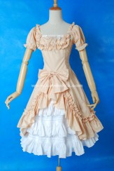 Brand New Dark Pink And White Short Sleeve Bow Ruffled Sweet Lolita Dress