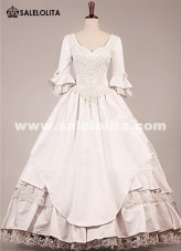 Medieval Wedding White Dress Victorian Gothic Prom Gown Masquerade Dress