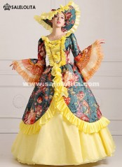 2016 Elegant Floral 18th Century Dress Renaissance Medieval Marie Antoinette Party Dress For Women