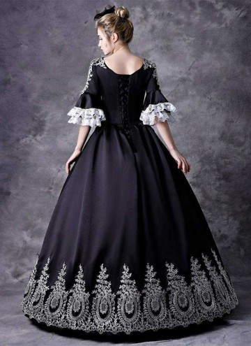 Black Rococo Embroidery Princess Marie Antoinette Dress Vintage Renaissance Reenactment Steampunk Halloween Costume