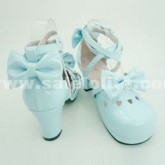 New Arrival Japanese Lolita Blue Bow Shoes