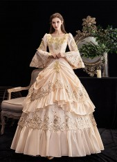 Champagne Rocco Southern Belle Marie Antoinette Dress 8th Century Medieval Renaissance Costume