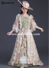 Children Pink Printed Lace Victorian Medieval Girl Party Dresses Kids Maire Antoinette Dresses Renaissance Reenactment Theater Clothing Customized