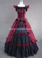 Black and Red Classic Gothic Victorian Dress
