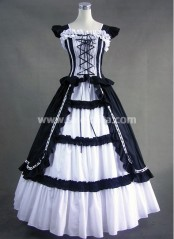 Classic Black and White Vintage Gothic Victorian Dress