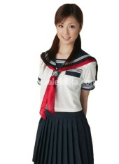 Hot Sale Short Sleeves Dark Blue and White School Lolita Suit