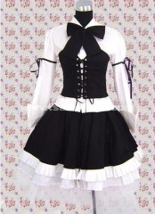 White And Long Sleeves Black Punk Lolita Dress