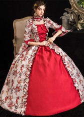 Renaissance Colonial Antique Floral Dress Princess Prom Ball Gown Reenactment Theater Clothing